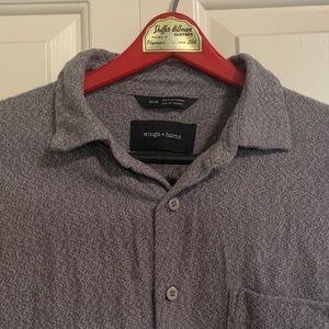 Wings + Horns Men's Grey Casual Shirt - Medium